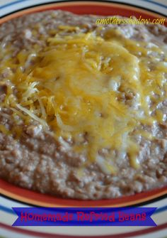 These Homemade Refried #Beans are the best!  Made in the #crockpot - can't get much easier than that!  at AMothersShadow.com