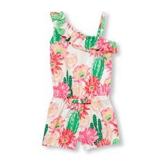 Baby Girls Toddler Sleeveless Cross-Ruffle Cactus Bloom Print Knit Romper - White - The Children's Place