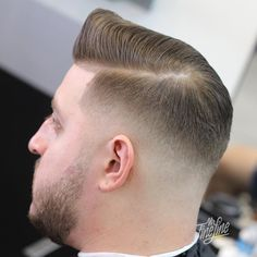 Classic Pompadour haircuts for Fat face, beard