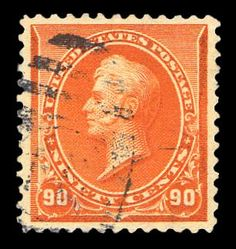 Jerry Connolly Stamps has this item on Collectors Corner - Scott# 229, 1890 90c Orange, PSE XF-Sup 95, Used