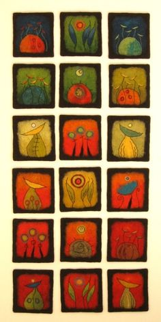 Click to Close contemporary folk art flowers , leaves and birds designs for cards , painting , or textile felt art for bags, appliques , wall art or note book covers