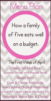 An April meal plan for your family feeding needs.