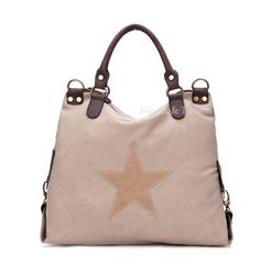 Stoere canvas tas met ster taupe