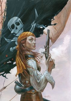"heroineimages: ""char-portraits: ""by Didier Graffet "" That's a rarity. A portrait of a pirate queen not showing off a bunch of skin and actually wearing decent leather armor. Pirate Queen, Pirate Art, Pirate Woman, Pirate Life, Lady Pirate, Character Portraits, Character Art, Character Design, Fantasy Characters"