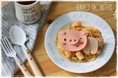 使用火腿食材做出粉紅小豬麵食料理  出處