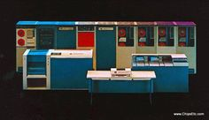 Colorful promotional image of the RCA Spectra 70 computer system, circa 1965.