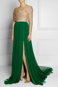 DELPOZO Ruched silk-blend tulle gown