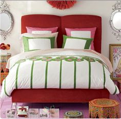 -colour combo for Larissa's room. #red, #pink, #green.