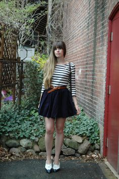 navy skirt, stripes