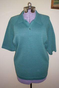Vintage 1970's Men's Van Heusen Coleseta Short Sleeve Knit Shirt Polo Size M