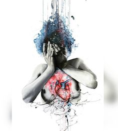 """""""Dissonance"""" In this painting I have tried to illustrate the dissonance between the mind and the heart of a person. This is someone who has spent her whole life being dominated by her feelings, and this painting represents the negative consequences of living this way. The cold colors used in the head represent sadness she feels, while the contrast with the red of the heart represents that despite all the misery it is unable to change who she is an become a less emotional person."""