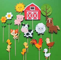 Farm animals cupcake toppers, 15 farm animal cupcake toppers, farm toppers, toppers farm animals, Co Farm Animals Preschool, Farm Animal Crafts, Animal Crafts For Kids, Preschool Crafts, Farm Crafts, Barnyard Cupcakes, Farm Animal Cupcakes, Birthday Cupcakes, Farm Cupcake Toppers