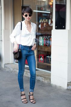 The Stunning Look, #white silk shirt, #effortless style