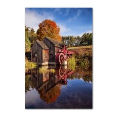 Trademark Fine Art 'The Old Grist Mill' Canvas Art by Michael Blanchette Photography, Black