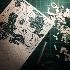 Wedding invite design for some dear friends of mine. Still got a ways to go. Hope you all had a fantastic Sunday I know I sure did! #sunday #sundayfunday #thankful #wedding #friends #florals #lily #carnations #paper #paperart #papercutting #art #artist #late #night #studio #session #wip #drawing #love
