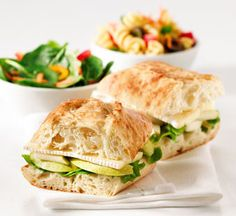 Our Turkey, Brie & Apple gourmet sandwich - thinly sliced turkey, creamy Quebec brie cheese, fresh apple slices, lettuce and cranberry mayo.