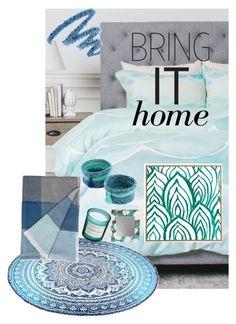 """blue neutral bedroom"" by johanna-mm on Polyvore featuring interior, interiors, interior design, Zuhause, home decor, interior decorating, DENY Designs, NOVICA, H&M und Muuto"