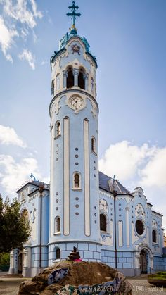 The tower of the Blue Church (Church of St. Bratislava Slovakia, Far Away, San Francisco Ferry, Notre Dame, Tower, Europe, Architecture, Building, Places
