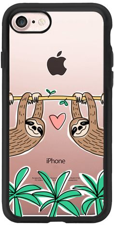 Casetify iPhone 7 Classic Grip Case - Sloth Couple - Tropical Animal - Love - Pink Heart by Happy Cat Prints #Casetify
