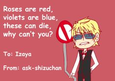 ask-shizuchan:(( for any izaya on this wonderful day ))