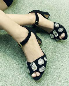 BIONDA CASTANA 'Maggie' - Black Calf Suede Sandals w/ Crystals   Buy ➜ http://shoespost.com/bionda-castana-maggie-black-calf-suede-sandals-w-crystals/