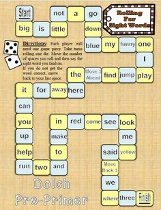 Enjoy this fun sight word board game for the Dolch Pre-Primer sight word list!Practice Dolch Pre-Primer sight words in a fun way.Excellent for literacty centers,… Sorting Activities, Alphabet Activities, Reading Activities, Pre Primer Sight Words, Sight Words List, Reading Centers, Literacy Centers, Sight Word Centers, Kindergarten Language Arts