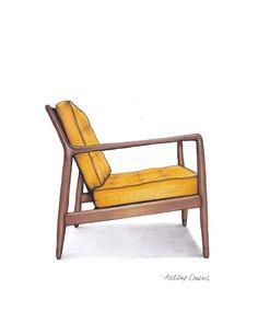 Mid Century Modern Danish Teak Chair Drawing, Mustard Yellow - 8x10