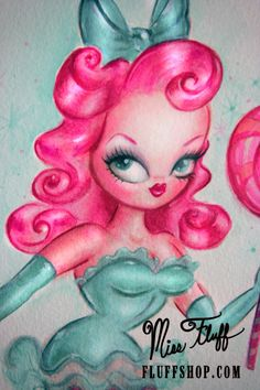 Lollipop Baby Doll - original art by Miss Fluff Dolly with candy pink hair and mint bow