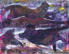 """Midnight Dancers"" by Sharon Giles original acrylic monotype Dancers, Printmaking, Art Photography, Board, Illustration, Prints, Painting, Animals, Inspiration"