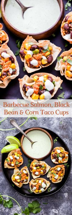 Barbecue Salmon, Black Bean and Corn Taco Cups are an easy, healthy and fun twist on taco night! Barbecue and Southwest flavors are combined together in these tasty 2-bite tacos! #ad #salmon #tacos #blackbeans #appetizer #easyrecipe #easydinner #barbecue