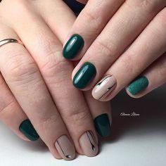 Дизайн коротких ногтей 2016, Зеленый дизайн ногтей, Зеленый маникюр на коротких ногтях, Идеи осеннего маникюра, Красивый дизайн ногтей 2016, Красивый осенний маникюр, Маникюр зеленым гель лаком, Маникюр на ноябрь