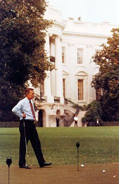 George H.W. Bush on the White House Putting Green