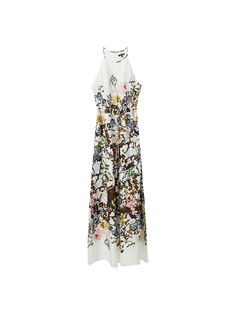 Sleeveless dress with a multicoloured print and tie detail. Features an A-line silhouette, a halter neck with a front slit detail, zip and button fastening in the back, two side pockets, side vents at the hem and lining. The garment length for size 38 is 147.6cm.