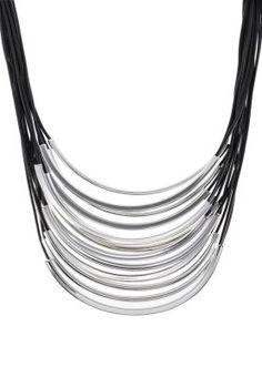 Halskette - silberfarben/schwarz