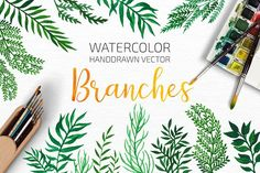 Watercolor Leafy Branches by Draw Wing Zen on @creativemarket