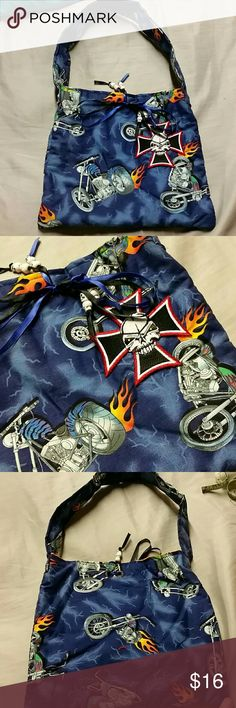 "Kids Chopper Motorcycle Iron Cross tote purse *Perfect for that little girl that wants to be like her biker mommy!  *great for dress up  *Flaming chopper motorcycles fabric, and an inner pocket with orange inner liner *10.5"" wide, 9.5"" tall, 9"" drop from top of bag to top of shoulder strap *ribbons closure *sturdy fabric with quilt batting lining, resembling vera Bradley    Hot topic, harley davidson, handbag, pocketbook, purse, tote, oc choppers, Jesse james, orange county, bikes,  kids…"
