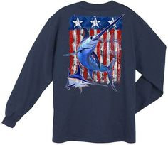 Guy Harvey Shirts - Guy Harvey Swordfish Flag Back-Print Men's Long Sleeve Tee in White or Navy Blue, $24.00 (http://www.guyharveyshirts.com/guy-harvey-swordfish-flag-back-print-long-sleeve-tee-in-white-or-navy-blue/)