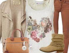Freizeitoutfit mit Blumentop ♥ Hier kaufen: http://www.stylefruits.de/freizeitoutfit-coffee-shop/o2922224 #Boots #Strickjacke #romantisch