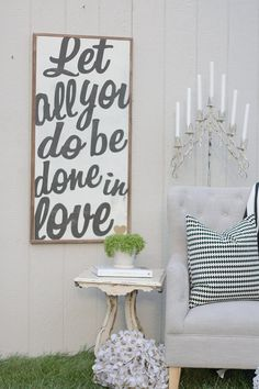 let all you do be done in love sign by TheHouseofBelonging on Etsy, $125.00