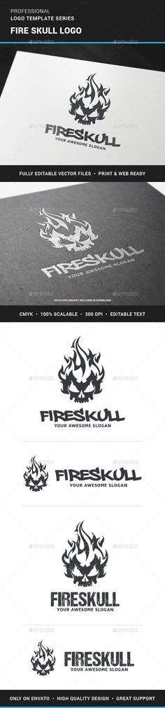 Fire Skull	 Logo Design Template Vector #logotype Download it here: http://graphicriver.net/item/fire-skull-logo-template/12242141?s_rank=1533?ref=nesto