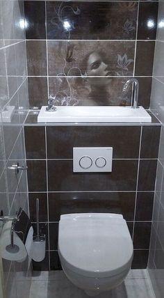 Space Saving Toilet Design for Small Bathroom – Home to Z - klein badezimmer Bathroom Design Small, Bathroom Layout, Bathroom Interior Design, Modern Bathroom, Bathroom Designs, Small Downstairs Toilet, Small Toilet Room, Toilette Design, Space Saving Toilet