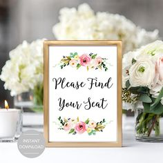 Please Find Your Seat Wedding Sign Please Find Your Seat