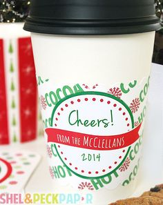 HOT COCOA Cup Sleeves - #Custom #Holiday #cocoa sleeves by BushelandPeckPaper on Etsy https://www.etsy.com/listing/209129002/hot-cocoa-cup-sleeves-custom-holiday