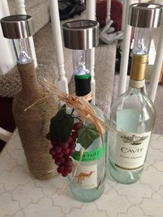Wine Bottle Solar Lights - Our Crafty Mom- DIY-Summer Entertaining-Upcycle-Recycle-Crafts light crafts Wine Bottle Corks, Wine Bottle Crafts, Jar Crafts, Shell Crafts, Wine Bottle Trees, Bottle Bottle, Beer Bottles, Bottle Opener, Solar Licht