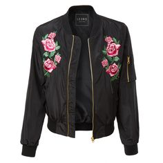 LE3NO Womens Lightweight Windbreaker Floral Embroidery Bomber Jacket (86 BRL) ❤ liked on Polyvore featuring jackets and outerwear