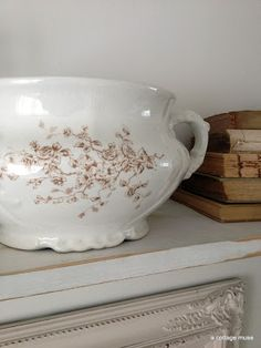 brown transferware chamber pot