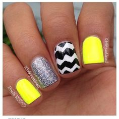 Cute neon nails for summer! The chevron nail art can be easily replaced with normal stripes or dots! The glitter accent nail can totally be changed to a different color of glitter polish. The neon nails can also be changed color, maybe to hot pink! Get Nails, Love Nails, How To Do Nails, Pretty Nails, Hair And Nails, Crazy Nails, French Nails, Popular Nail Art, Nagel Gel