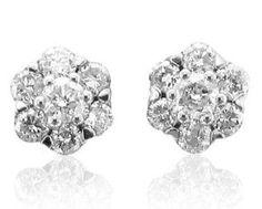 14k White Gold Cluster Diamond Earrings Studs (HI, I1-I2, 0.50 carat) --- http://previ.us/1mo