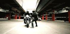 FINALLY THE FULL GIF OF BUCKY ON THE MOTORCYCLE<<<thankyouthankyouthankduyouthabkyou