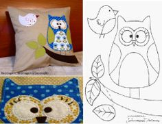 Decorative pillow - an owl patchwork Owl Patterns, Applique Patterns, Machine Embroidery Applique, Wool Applique, Softies, Sewing Crafts, Sewing Projects, Owl Wings, Owl Pillow